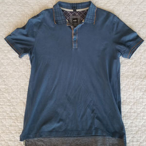 BOSS Hugo Boss- blue polo shirt with orange accent